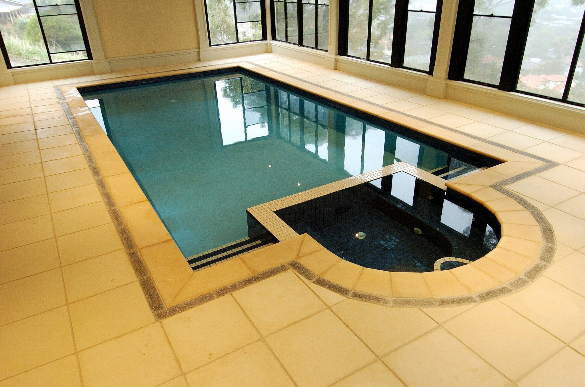 Indoor Tiled Pool and Spa