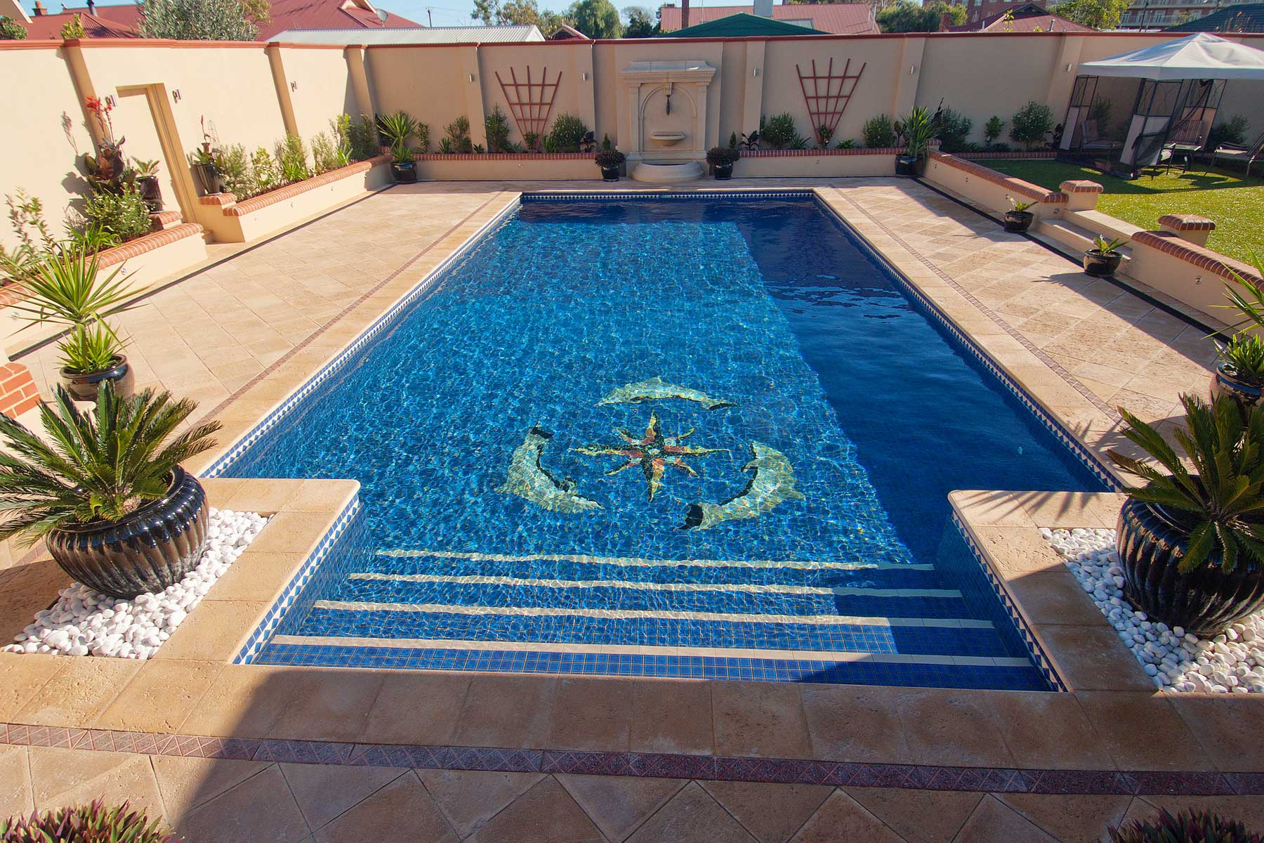 Concrete Pool with Ceramic Design