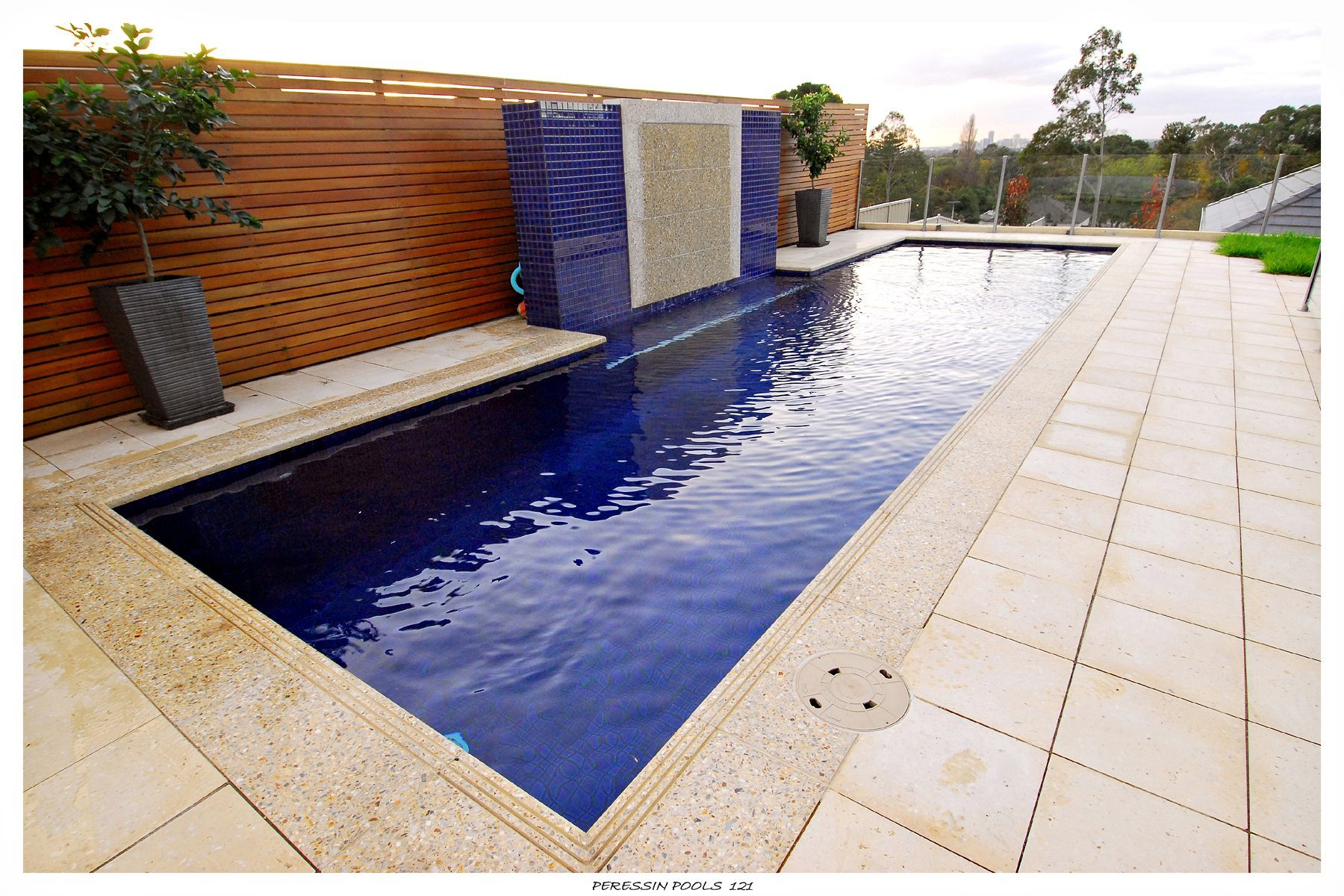 fountain and concrete pool - Rectangle Pool With Water Feature